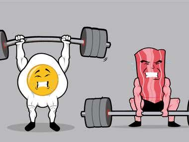 A follow up of the cross-fit badge. My client wanted some characters (egg and bacon) doing some weightlifting.
