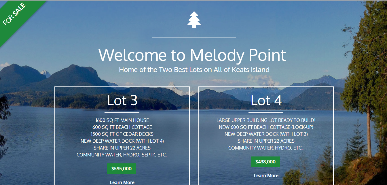 Welcome to Melody Point  Home of the Two Best Lots on All of Keats Island