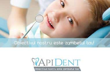 Visual identity design and branding for a dental clinic ApiDent.  ApiDent is composed of a team of young dentists who provide the most modern technologies and treatment plans, so they wanted a professional logo image inspire confidence and safety and final design highlights this.  The basis for creating the logo was the presentation of services that can benefit patients, we built a stylised tooth which consists of a hand and a half tooth restoration in progress.  I chose a blue color colour denoting credibility, professionalism, concentration and an authoritative color gray.