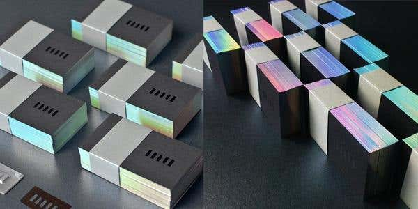 60 modern business cards to make a killer first impression make it holographic holographic design for modern business card reheart Images