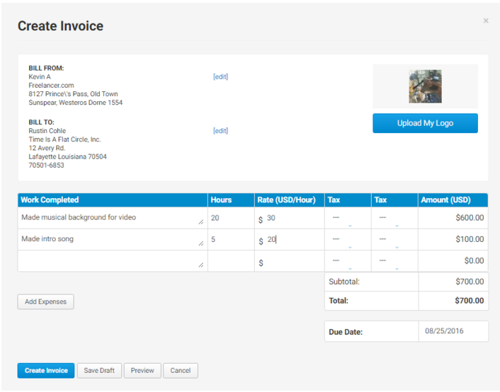 When Youu0027re Happy With Your Invoice, Simply Click Create Invoice.  Freelancer Invoice