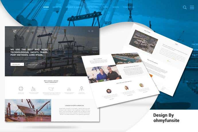 Best business homepage design for a Yacht Transport Company