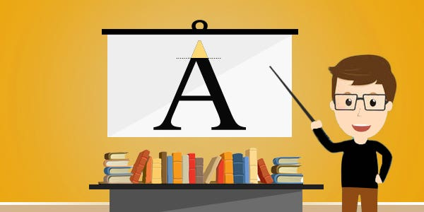 Typography term Apex refers to the top of a symbol or character