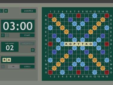 Gameplay preview application for Scrabble tournaments. - Fullscreen application running on LCD projector - Flexible interface