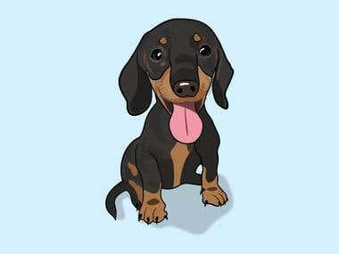 Dog illustrated in Adobe Illustrator
