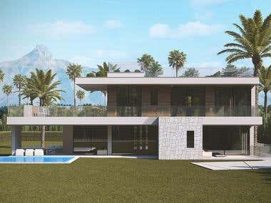 Contemporary exterior villa in Marbella