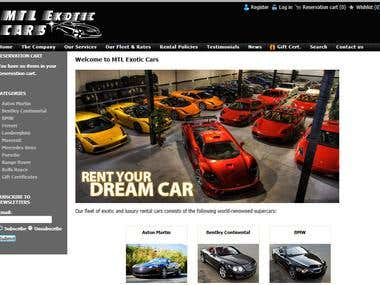 Exotic Car reservation website