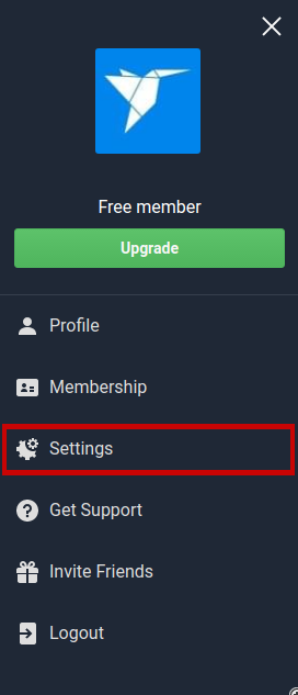 Click Settings from the menu