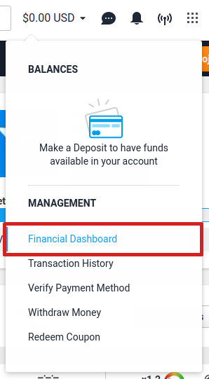 Financial Dashboard from the account balance menu