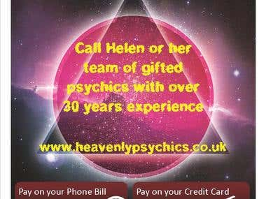 This is a beautiful poster for HeavenlyPsychics who specialise in giving mind readings and fortune telling over the phone. I completed it within 1 day!