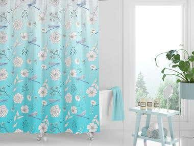 Custom designed patterns of different sized shower curtains.