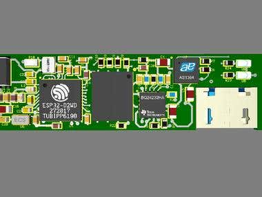 The system board is consisted with ESP32 CPU and OLED Display Connector. The device have both Bluetooth and WiFi capabilities.