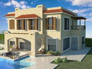 Exterior villa with swimming pool