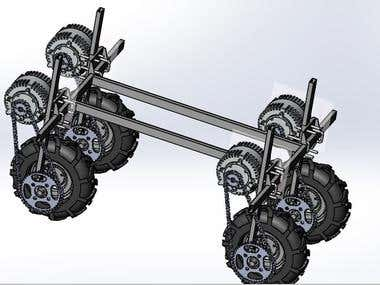 Latest project design on Solidworks for an Agricultural Pesticide Spraying cart