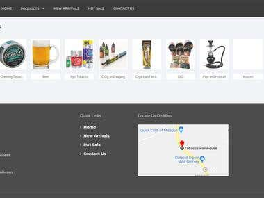 The Images shows the working and designing of website. I made one tobacco warehouse website where shows the tobacco items of that perticular store.