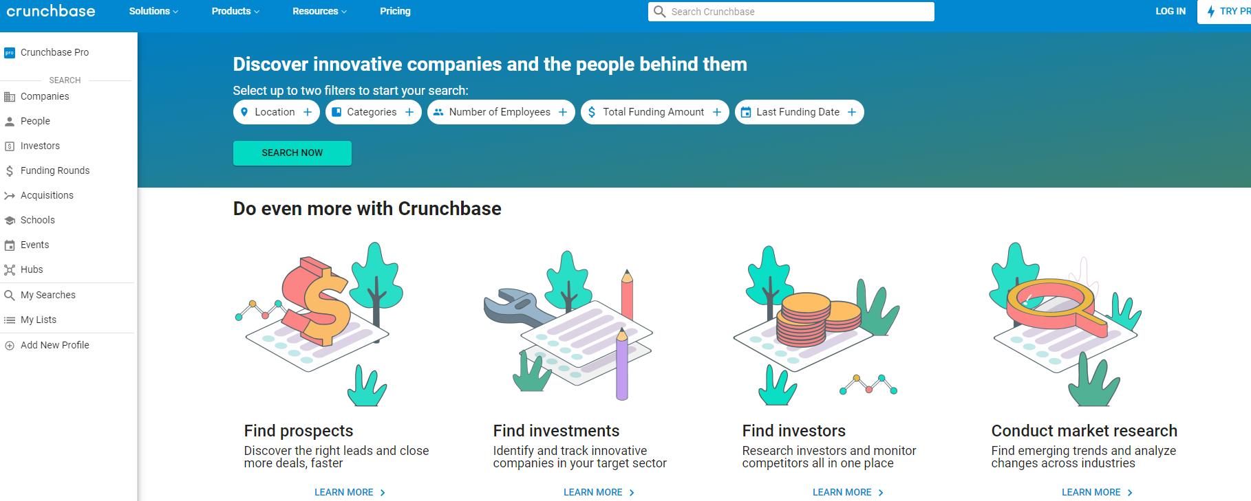 Crunch-base-homepage