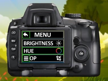 Camera learning simulator game teaches children, how to use digital camera.