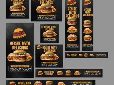I have designed these adverts in different size for the Fast Food website.