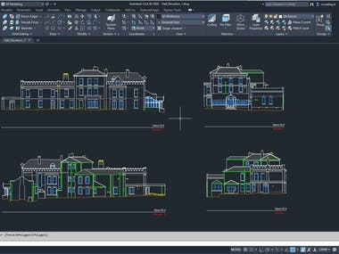Elevation plans of a building. Created with CAD drawings on point cloud scanned with LİDAR devices.