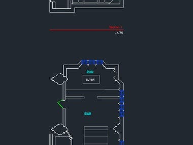 2D floor plan and a section plan of a church room