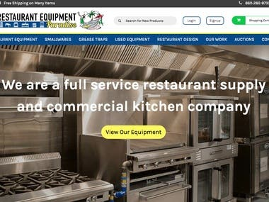 Website for full service restaurant supply and commercial kitchen company