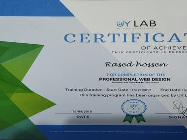 This is web designing  course certificate .