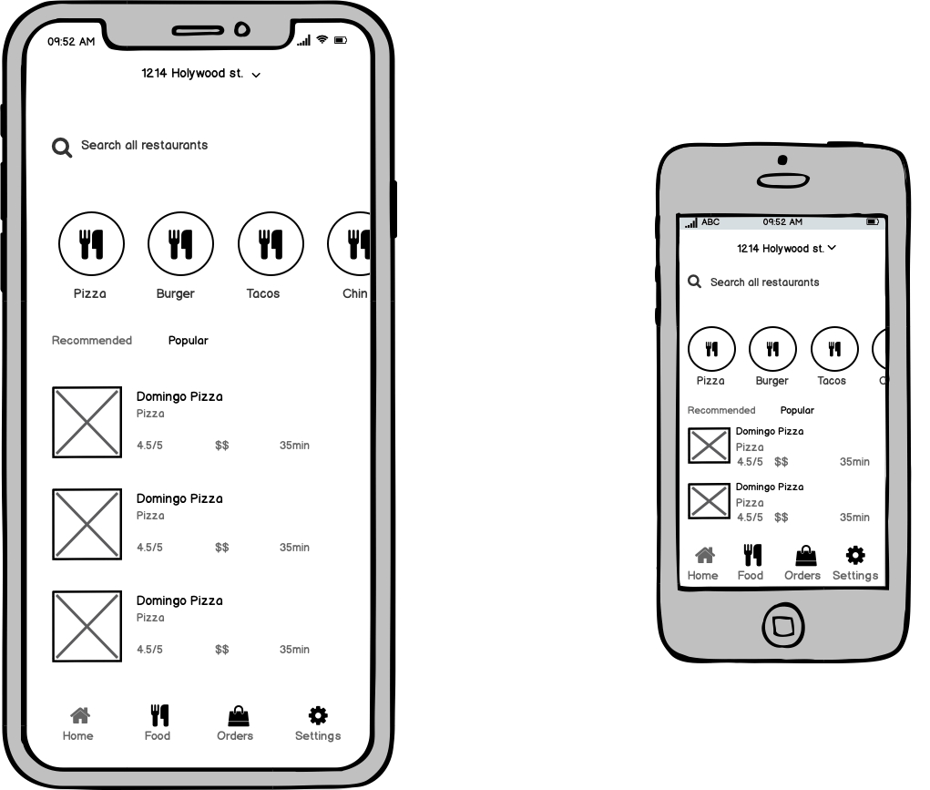 mobile app wireframe sizing