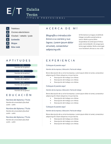Sophisticated Resume Style Draft for the sake of layout. Photo can be added ATS friendly Complete Editable Design in MS Word and PDF file Spanish and English content