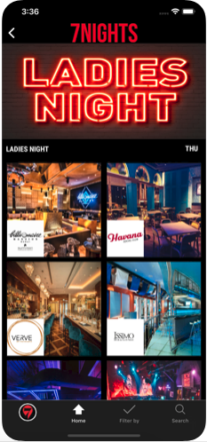 Browse through UAE's nightlife venues, find info and directions to bars, clubs, lounges, pubs, licensed restaurants, and events around.   - Go through the profiles of your favorite venues and have a look at their updated news, offers, events & deals.   - Find venues by type and features using one or more of the listed filters; lounges, nightclubs, rooftop, live music, sports TV, shisha, and Much More.   - Check unlimited offers including Happy Hour deals, Ladies Night, Special Offers, & Brunches.   - Rate the places you visited and help other users make the right choice when going out.