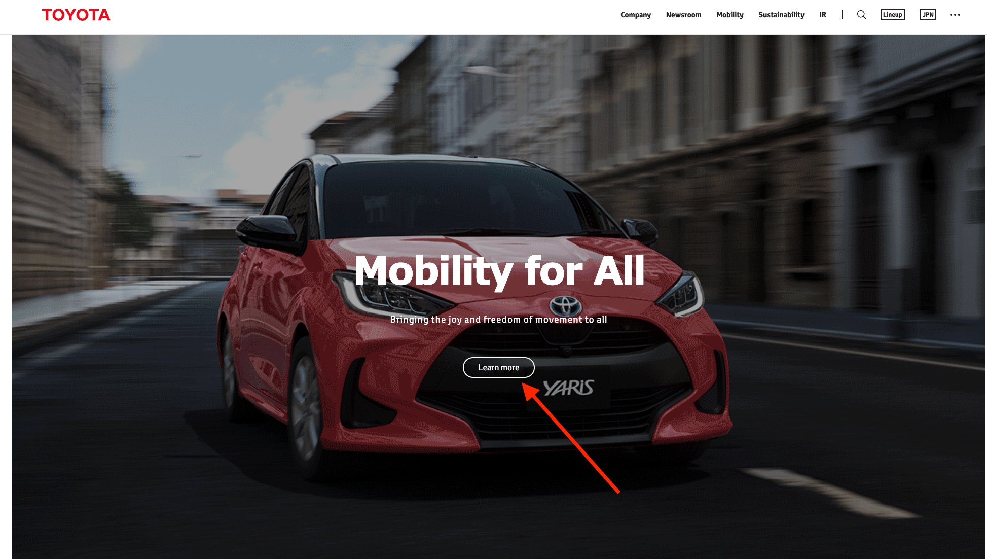 toyota website calll to action