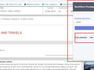 Scraping packages from www.northguru.com and save into database