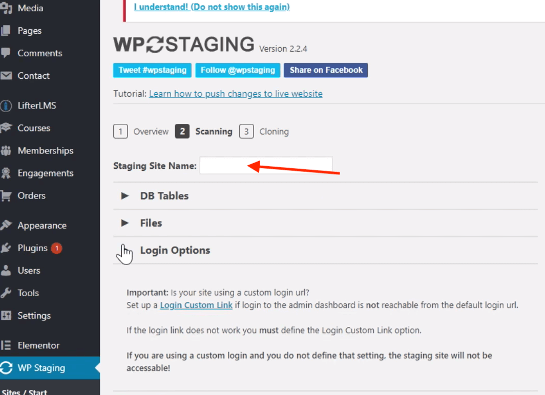 wordpress stage site setup