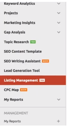 semrush listing management local seo