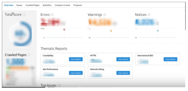 semrush site audit report
